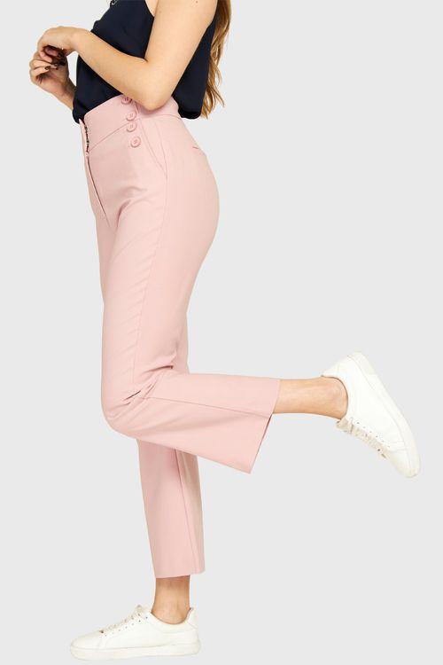 Pantalón Botones Decorativos Rosa